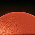 2012/08/25 08:57の太陽(Hα・ダブルスタック)